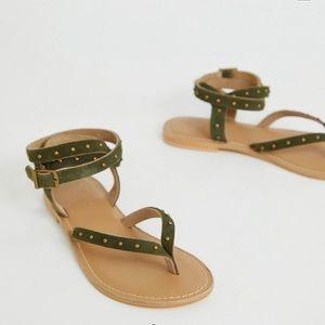 Flat Khaki Leather Sandals